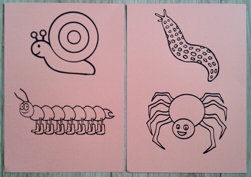 A template card of bugs for our Story Time image