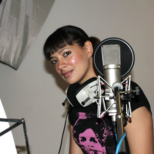 Anna-Christina recording the narration in audiobook March of The Ants by Music Audio Stories