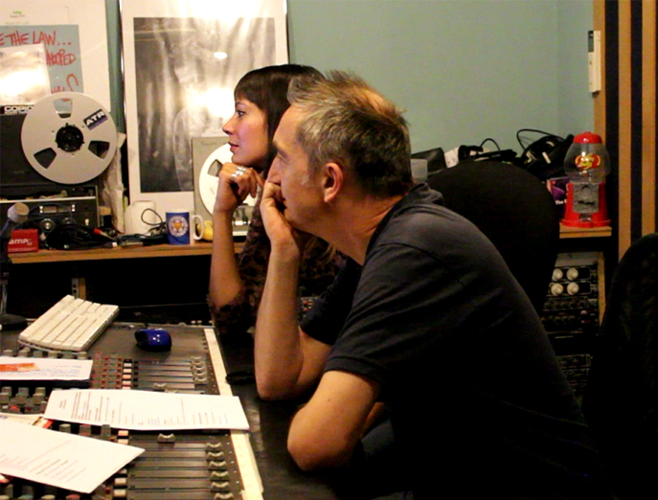Anna-Christina and Adie Hardy working at the studio on Music Audio Stories image